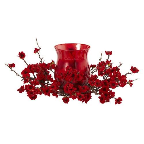 nearly natural Artificial Plum Blossom Centerpiece & Candleholder