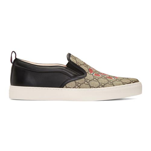 GUCCI Black Snake Dublin Slip-On Sneakers