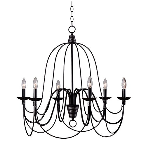 Kenroy Home 93066ORB Pannier 6-Light Chandelier, Oil Rubbed Bronze Finish with Silver Highlights [Oil Rubbed Bronze / Silver Highlights]