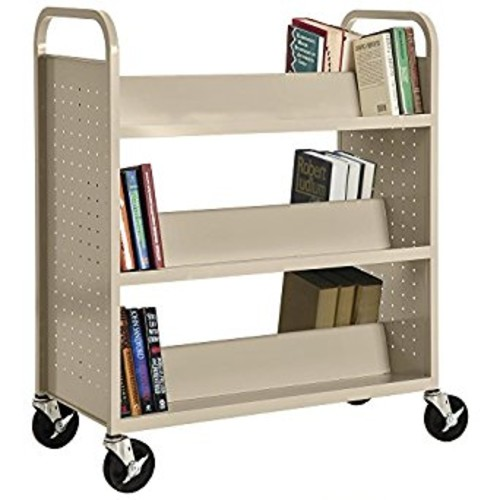 Sandusky Lee SV336-07 Double Sided Sloped Shelf Welded Book Truck, 19
