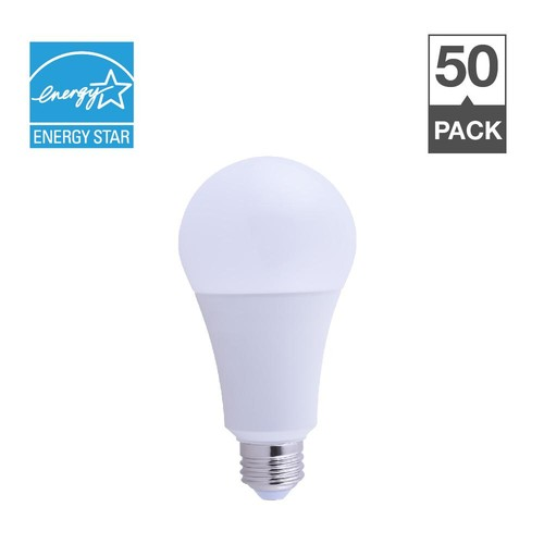 Simply Conserve 50/100/150W Equivalent Soft White 2700K A21 Energy Star and Dimmable 25,000-Hour 3 Way LED Light Bulb (50-Pack)