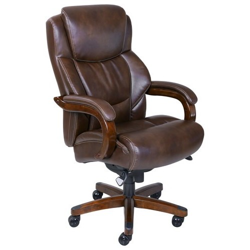 La-Z Boy - Big & Tall Bonded Leather Executive Chair - Chestnut Brown