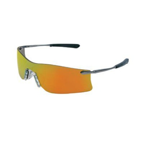 Crews Rubicon Frameless Safety Glasses, Silver Metal Temples, Clear Lens