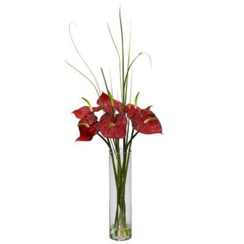 Nearly Natural 1290 Tropical Anthurium with Cylinder Arrangement 30 x 15 inch