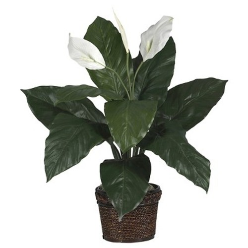 Nearly Natural Spathiphyllum with Wicker Silk Plant Green
