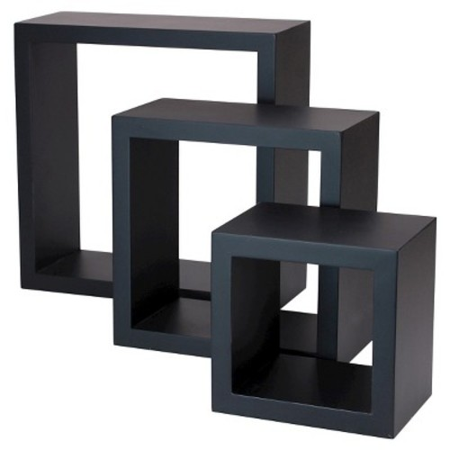 AZ Home and Gifts nexxt Cubbi 9 in. MDF Wall Shelf in Black (3-Piece)