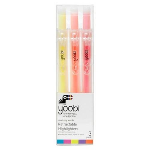 Yoobi Retractable Highlighters - Multicolor, 3 Pack
