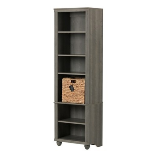Hopedale Narrow 6 - Shelf Bookcase - Gray Maple - South Shore