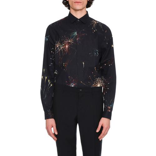 VALENTINO Fireworks Long-Sleeve Cotton Shirt, Navy