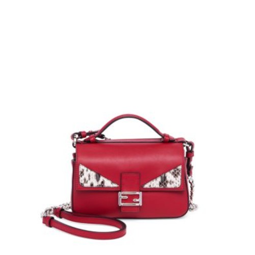 FENDI Leather & Snakeskin Double Micro Baguette