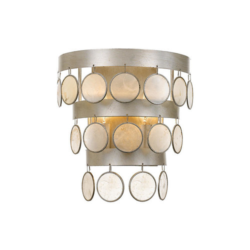 Coco 2-Light Sconce, Silver/White