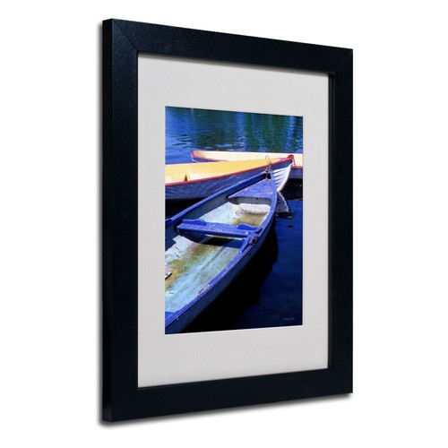 Trademark Fine Art Kathy Yates 'Bois de Boulogne Boats' Matted Art Black Frame 11x14 Inches