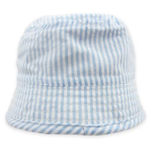 Toby Seersucker Bucket Hat in Blue/White