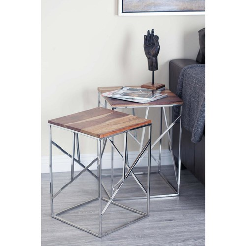 Wood and Stainless Steel Geometrical Nesting Tables (Set of 3)