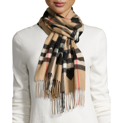 BURBERRY Cashmere Heart And Check Printed Scarf, Brown/Black
