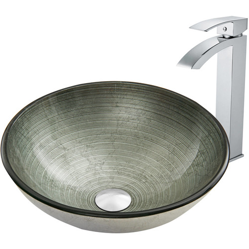 VIGO Glass Vessel Sink in Simply Silver and Duris Faucet Set in Chrome
