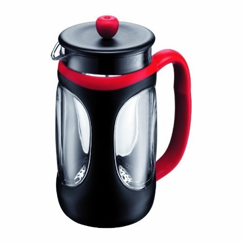 Bodum YOUNG PRESS Coffee Maker, Shock Resistant French Press Coffee Maker, Red/Black, 34 Ounce (8 Cup)