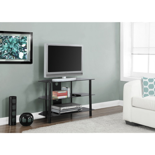 Black Metal 36-inch Tempered Glass TV Stand