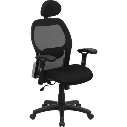 Brittany High-Back Black Mesh Executive Swivel Chair w/Adj Arms