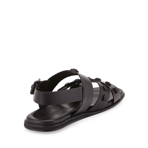 Men's Leather Strappy Sandal, Black