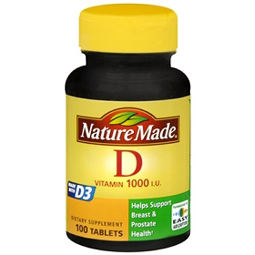 Nature Made Vitamin D3, 1000 IU, Tablets, 100 tablets