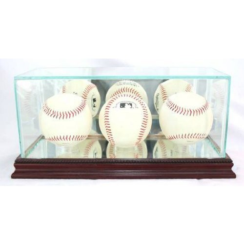 Glass Triple Baseball Display Case with Cherry Wood Molding