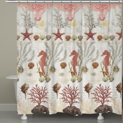 Laural Home Ornate Coral Shower Curtain