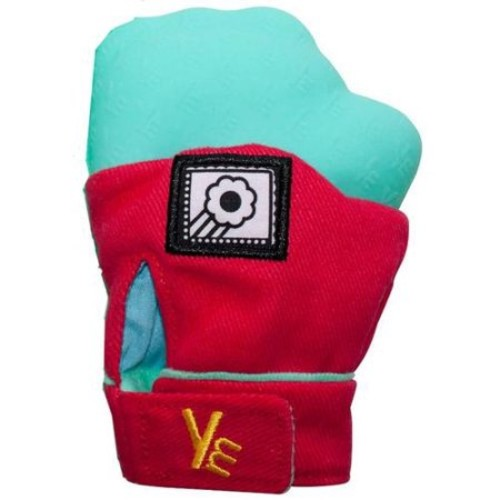 Yummy Mitt (Glow in the Dark) Teething Mitten -Red & Turquoise -(3-12 months baby mitten)- No More Dropping Teether!