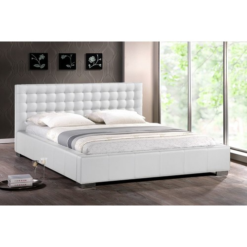 Baxton Studio Madison White Modern Bed with Upholstered Headboard (Queen Size)