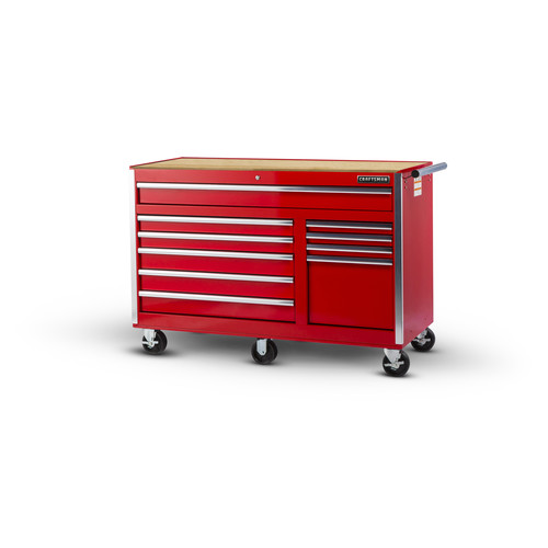 Craftsman 56 in. 10-Drawer Ball Bearing Slides Cabinet with Hard Wood Top in Red