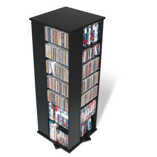 Prepac Black Four Sided Spinner / Multimedia Storage Tower (Holds 800 CDs)