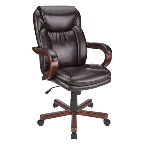 Realspace Carlin Bonded Leather High-Back Chair, Brown