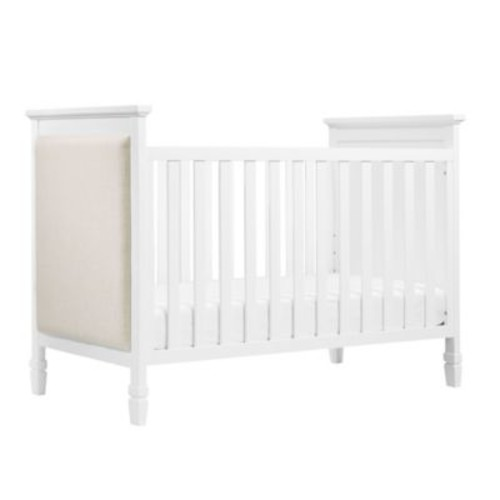 DaVinci Lila 3-in-1 Convertible Crib in White with Oatmeal Linen Fabric