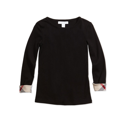 BURBERRY Tulisa Check-Cuff Long-Sleeve Tee, 4-14Y