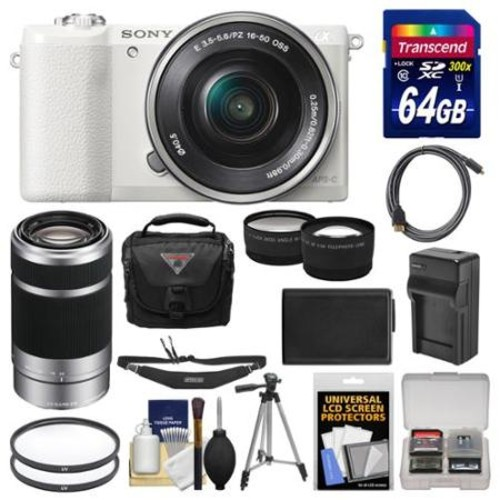 Sony Alpha A5100 Wi-Fi Digital Camera & 16-50mm Lens (White) with 55-210mm Lens + 64GB Card + Case + Battery/Charger + Tripod + Strap + Tele/Wide Lens