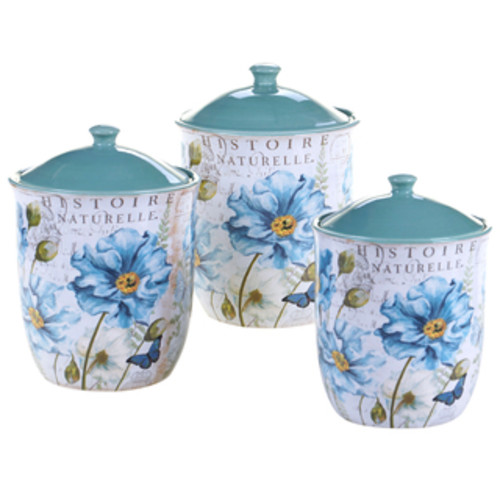 Certified International Ceramic Kitchen Canisters Tapas 3-piece Ceramic Canister Set