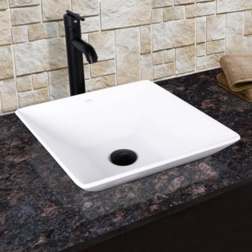 VIGO Hibiscus Matte Black Stone Vessel Sink and Seville Bathroom Vessel Faucet