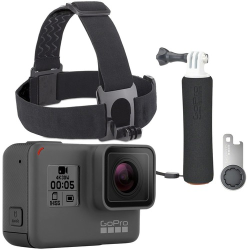 GoPro - Starter Bundle - HERO 5 Black 4K Action Camera with The Handler Floating Hand Grip, Head Strap & QuickClip