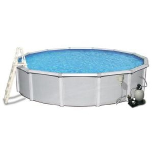Blue Wave Samoan 27 ft. Round 52 in. Deep 8 in. Top Rail Metal Wall Swimming Pool Package