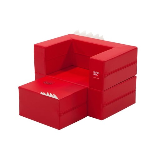 Design Skin Convertible Cake Sofa [option : Red]