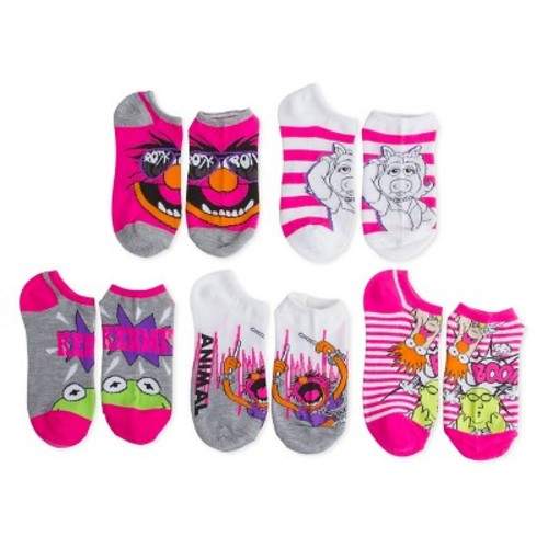 Women's The Muppets 5-Pack No Show Socks Multi-Colored One Size