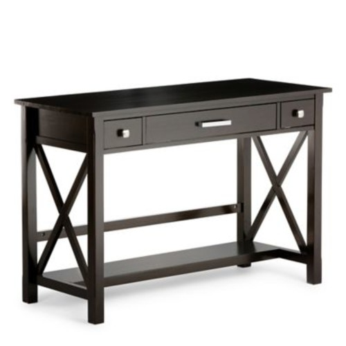 Simpli Home Kitchener Desk in Dark Walnut Brown