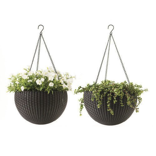 Keter Round Resin Hanging Planters, 2pk, All-Weather Plastic Planters, 13.8