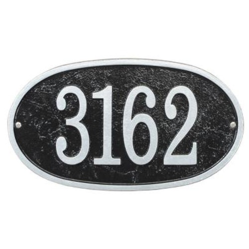Whitehall Products Fast and Easy Oval House Number Plaque, Black/Silver