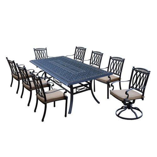 Milan 9 Piece Cast Aluminum Dining Set with Rectangular Table, 6 Stackable cushioned Chairs and 2 cushioned Swivel Rockers