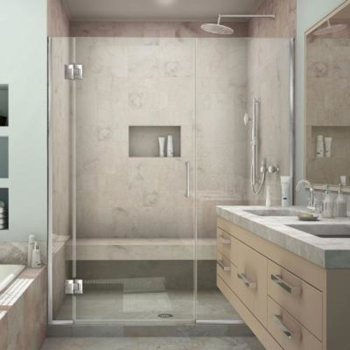 DreamLine Unidoor-X 59 in. to 59-1/2 in. x 72 in. Frameless Hinged Shower Door in Chrome