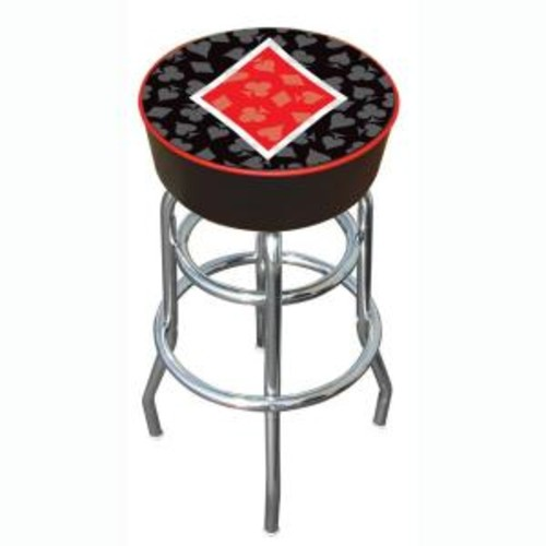 Trademark Four Aces Diamond 31 in. Chrome Swivel Cushioned Bar Stool