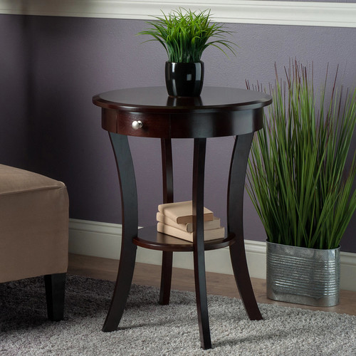 Winsome Wood Sasha Accent Table with Drawer, Curved Legs, Cappuccino Finish