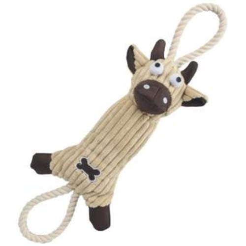 Pet Life Jute And Rope Plush Cow Dog Toy, Brown
