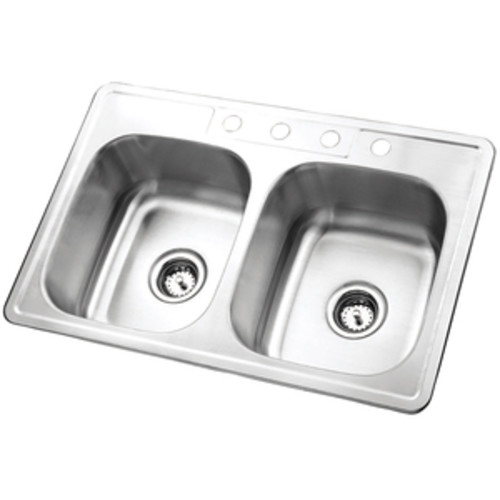 Kingston Brass GKTD33228 Self-Rimming Double Bowl Kitchen Sink, Brushed Stainless Steel